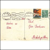 Tubi merkki 1962 orava Pori 20.12.62 kaunis enkelikortti