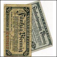 SETELIT,SAKSA,NOTGELD v 1920,2 KPL,STADT CREFELD(18759)