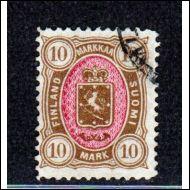 1885  Vaakunamerkkien 10 mk HYVÄ LEIMATTU (Norma 350€)