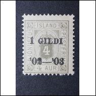 1902--ISLANTI--4 AUR PÄÄLLEPAINAMA I GILDI (x)