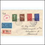 1943 Punainen Risti-sarja FDC Tanskaan (Norma 100€)