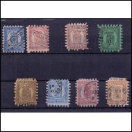 1860-66 Isohampaiset merkit KAIKKI 8kpl leimattuna KATSO!