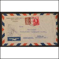 Turkki - Kirje lentopostissa Tsekkoslovakiaan - 1953.