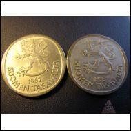 1 mk 1967 ja 1 mk 1966. Hopea