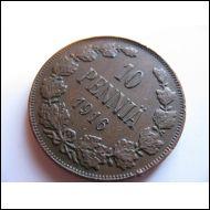 10 penniä 1916.